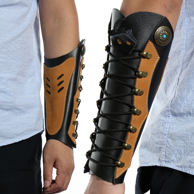 Traditional Cowhide Archery Arm Protector Guard For Hunting Restraint with Hardware Fasteners 5