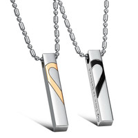 Fashion Jewelry Couple 316L Stainless Steel Necklace Love Two Half Of The Heart Puzzle Pendent For