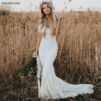 Elegant Boho Lace Wedding Dresses Country Style Off The Shoulder Short Sleeves Bridal Dresses Beach Wedding Gowns Sweep Train