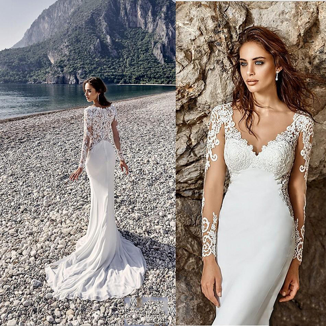 Romantic long sleeve mermaid wedding dress 2017 vintage v for Beach wedding dresses 2017