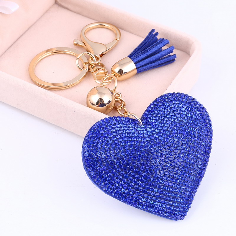Fashion Heart Handmade Cute Bling Crystal Keychain For Women Car Pendant Girl Statement Rhinestone Jewelry Bag Key Chains Ring