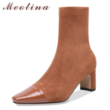 Meotina Women Ankle Boots Natural Genuine Leather Thick High Heel Short Boots Stretch Zipper Square Toe Shoes Female Size 34-39