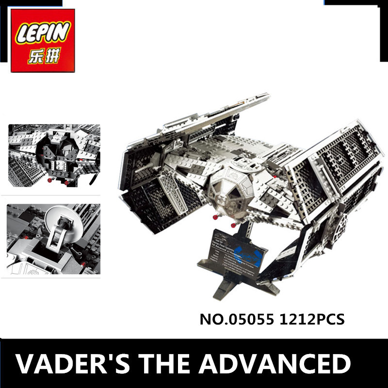 IN STOCK  LEPIN 05055 1212Pcs  Vader TIE advanced fighter aircraft Model Building Kit Blocks Bricks Compatible Children psd10 48 1212 new in stock