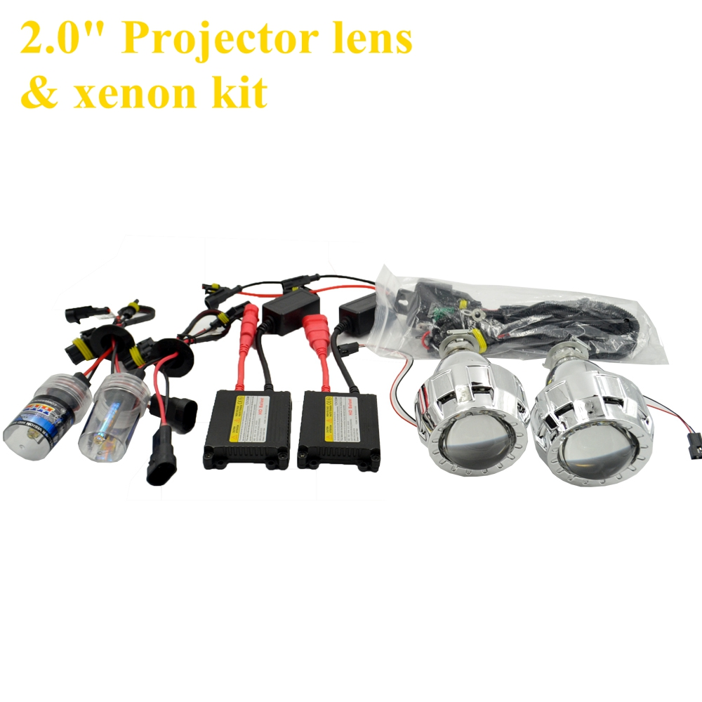 2.0 inches Bi xenon Headlight Projector Lens Mini Gatling Gun Shrouds LHD RHD 35W H1 hid xenon kit H7 H4 H1 hid xenon kit retrofit headlights cover 2 5for h1 mini projector lens silver gatling gun shroud [qp379]