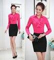 Ol Formal de estilos moda de primavera y otoño Business Women Work trajes con Tops y falda para mujer oficina camisas y Blusas uniformes