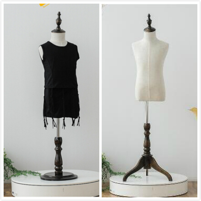 1pcs 4 Years Old Tripod Round Holder Children Mannequins For Dresses Clothes Linen Cotton Upper-Body Cosmetology Window Display