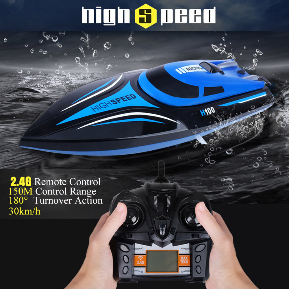 High Speed RC Boat 2.4GHZ 4 Channel 30km/h Radio Remote Control RC Racing Boat Plastic Electric Remote-Control Speedboat For Boy