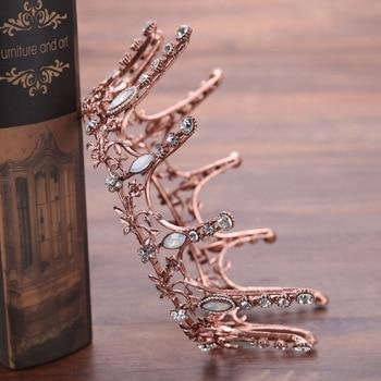 Vintage Baroque Round Crown Bridal Wedding Crystal Rhinestone Big Hair Jewelry 1