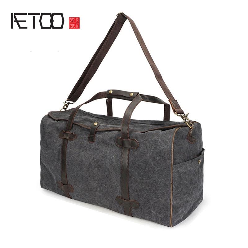 AETOO New canvas travel bag large capacity retro men canvas bag multi-purpose portable travel bag bag