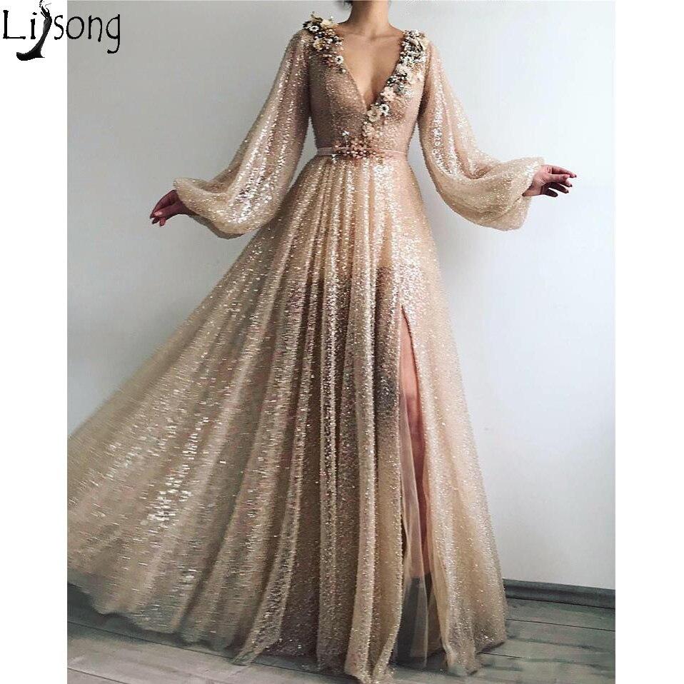Paillettes or brillant Tulle robes de bal à manches longues col en V Sexy fente formelle robes de soirée Abendkleider pas cher sur mesure