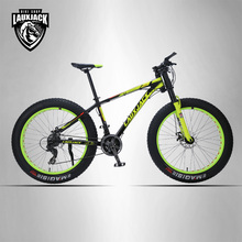 LAUXJACK Mountain Bike Aluminum Frame 24 Speed Shimano Mechanical Brake Fat Bike 26″x4.0 Wheel  Long Bicycle Fork