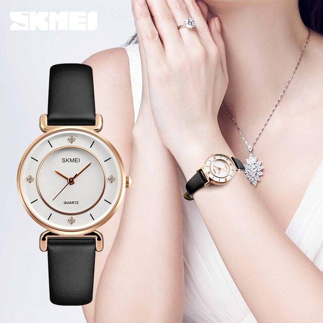 SKMEI 1330 часы Для женщин кварц горный хрусталь Водонепроницаемый Кожа Роскошные модные Повседневное женские часы для девушку Relogio Feminino 2018