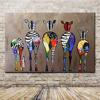 Arthyx Paintings Hand Painted Zebra Animals Canvas Oil Painting For Living Room Home Decoration Wall Art Pictures Wall Paintings