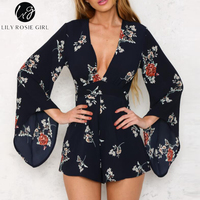 Lily Rosie Girl Deep V Neck White Floral Print Playsuits Women Long Sleeve Autumn Winter Sexy