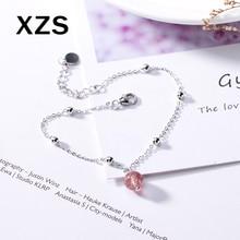 100% Genuine S925 Sterling Silver Chinese Style Strawberry Quartz Bracelet Women Luxury Valentines Day Gift Jewelry SLCN-18005