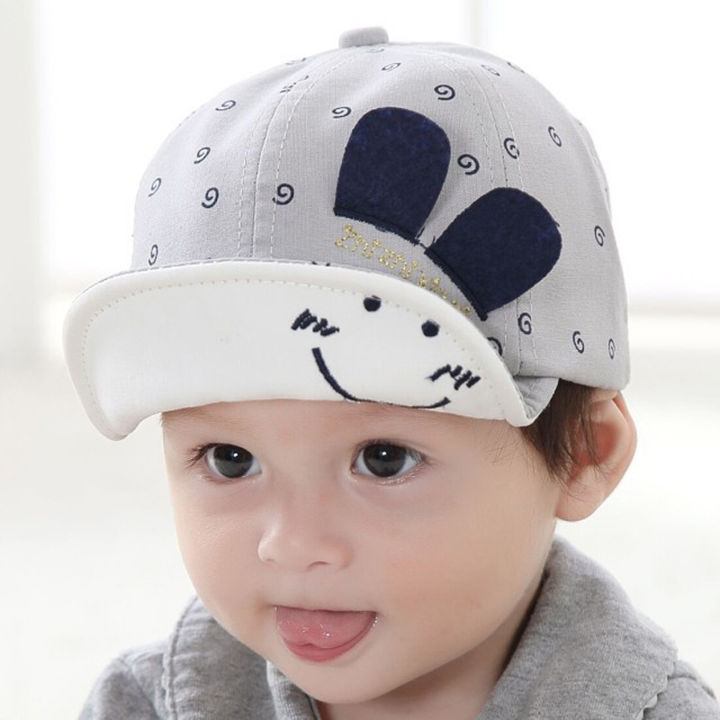 SAILEROAD New Baby Hat With Ears Smiling Face Cartoon Kids Baseball Hat Summer Baby Boy Sun Hats Cotton Caps Girls Visors