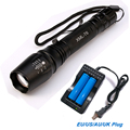 6000Lumens Flashlight CREE XM-L T6 LED Zoomable Focus Flashlight Torch Light+2*18650 Battery+ Charger