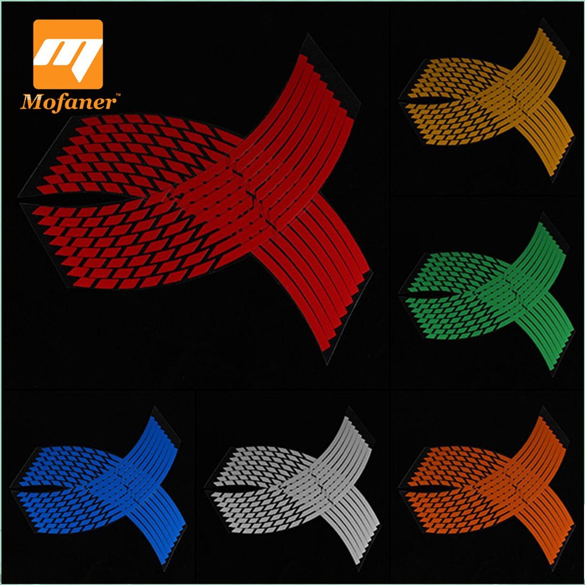 Mofaner 16 Strips Reflective Motorcycle Car Bike Wheel Stickers Rim Stripe Wheel Decal Tape Sticker 16-18 Inch For Kawasaki