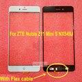 Черный Белый Внешний Стекло Передней Экран Датчик Объектив с flex кабель для ZTE Nubia Z11 miniS Мини S NX549J Ремонт замена
