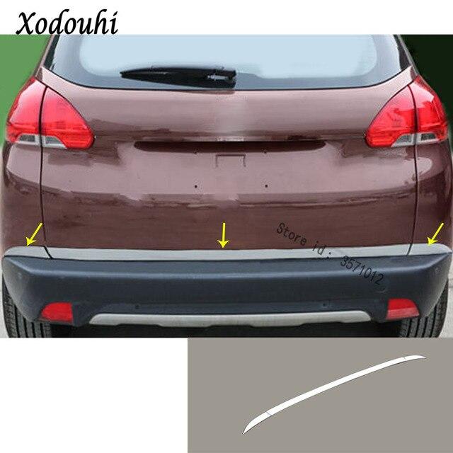 Stainless Steel Rear Back Door License Tailgate Per Frame Plate Trim Lamp Trunk 3pcs For Peugeot