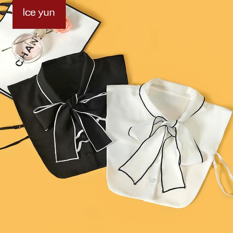 Fashion fake collar White Black bow womens shirts False collar Blouse simple Detachable Collars Women Clothes Accessories
