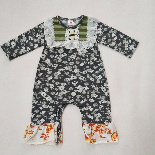 f738e9941af8 Newest Fall Baby Girl Clothes Newborn Cotton Bib Romper Floral Infant  Cothing Wholesale Baby Jumpsuits R006
