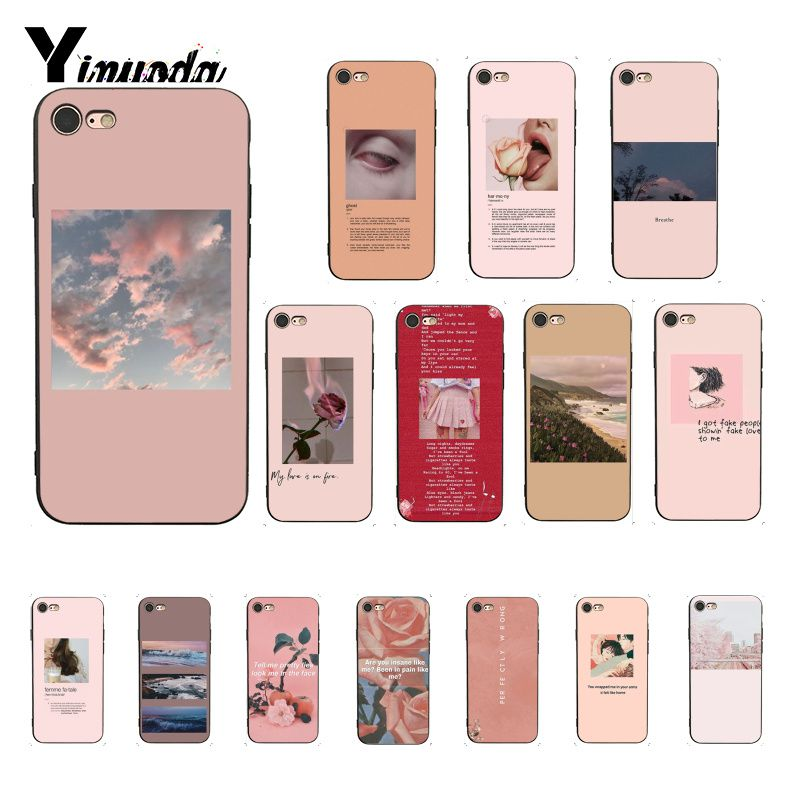 Funda de teléfono Yinuoda Rosa estética canciones letras estéticas silicona suave funda para iPhone 8 7 6 6S 6Plus X XS MAX 5 5S SE XR 10