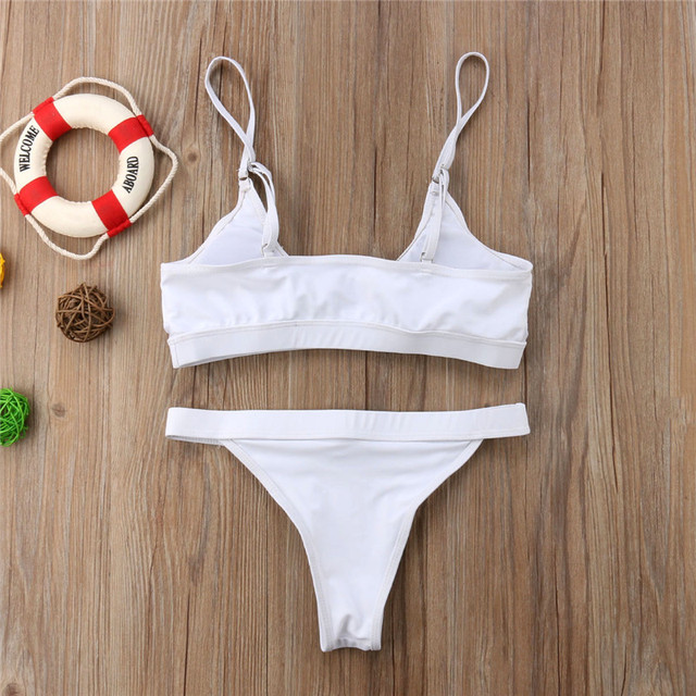 White Mesh Push Up High Cut Halter Bikini 1