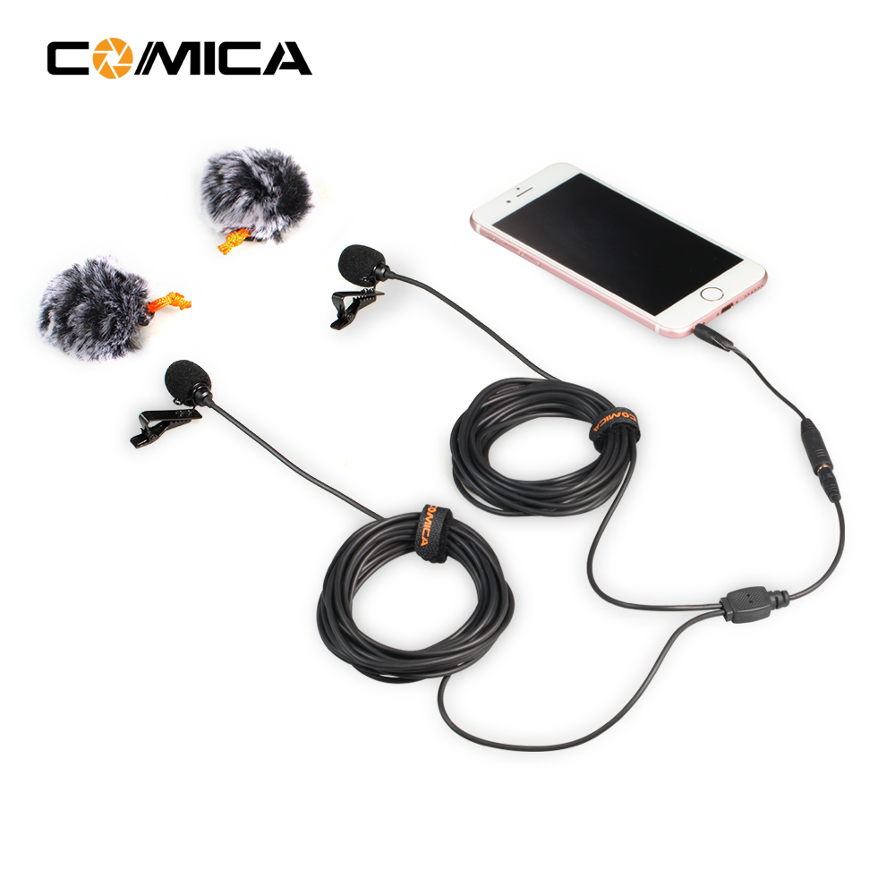 COMICA Dual-head Universal Mic Two-way Audio Lavalier Microphone 2.5M for Smartphone DSLR Camera GoPro Sports Camera
