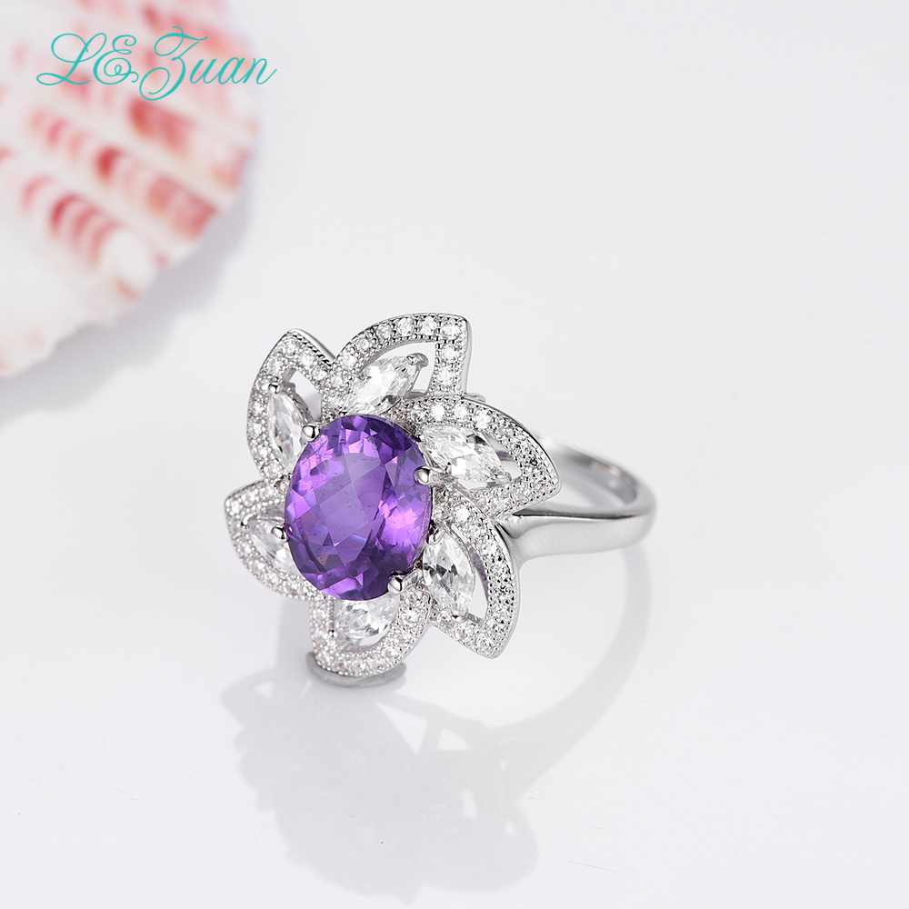 I&zuan Real 925 Sterling Silver Jewelry Rings 5.06ct Natural Amethyst Flower Luxury Ring For Women gqtorch natural purple amethyst rings for women 925 sterling silver jewelry vintage thai silver flower engraved anelli argento