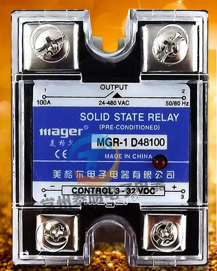 mager Genuine new original Single-phase SSR single-phase solid-state relay DC control DC AC220V MGR-1 D48100 100A ssr mgr 1 d4860 meike er normally open type single phase solid state relay 60a dc ac