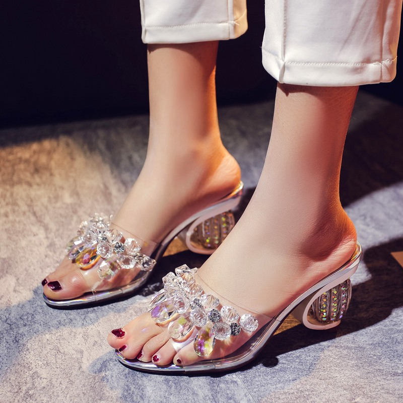 ФОТО 2017 hot crystal superstar high heels mules princess party slippers brand shoes peep toe women open rainstone quality sandals 06