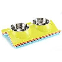 Новые простые Автоматические кормушки для собак чаша Нержавеющаясталь двойной рот собака чаша для малых и средних собак домашних животны...