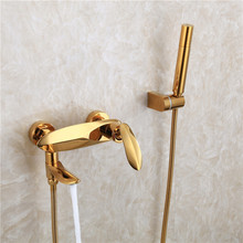 Nordic brass gold bath shower hot and cold water tap titanium golden bathtub shower faucet set hanging wall mounted Shower Set