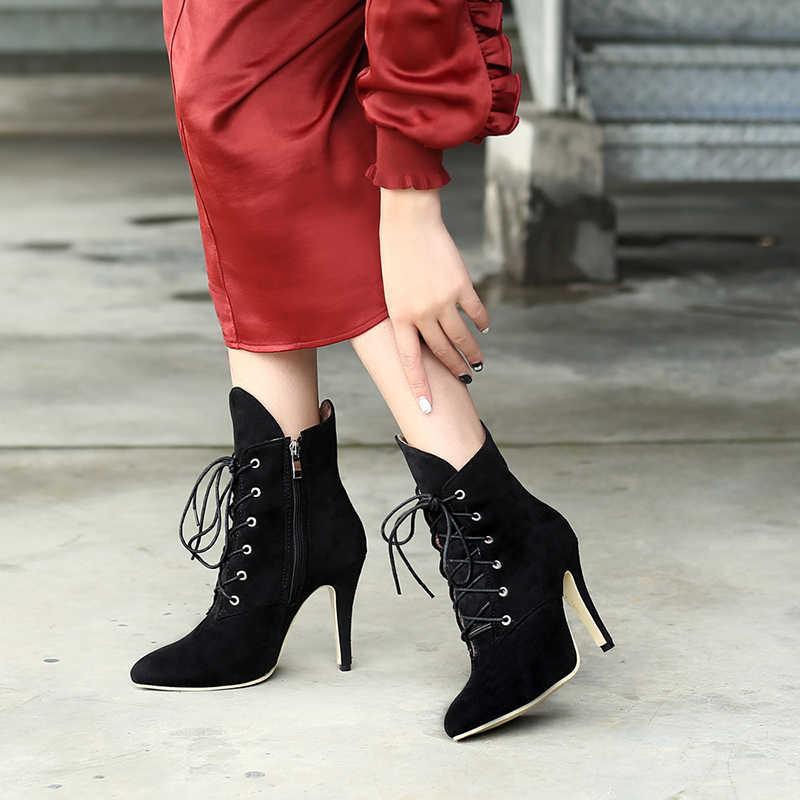 WETKISS Leopar Baskı Yüksek Topuklar Kadın Çizmeler Sivri Burun Ayakkabı Kadın Parti Boot Zip Ayakkabı Kadın 2019 Kış Artı Boyutu 32-46