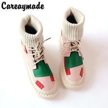Careaymade-Candy color Martin boots new style Korean boots, flat bottomed woollen tube antique tie short ladies