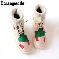 Careaymade Candy color Martin boots new style Korean boots, flat bottomed boots woollen tube antique tie short ladies' boots