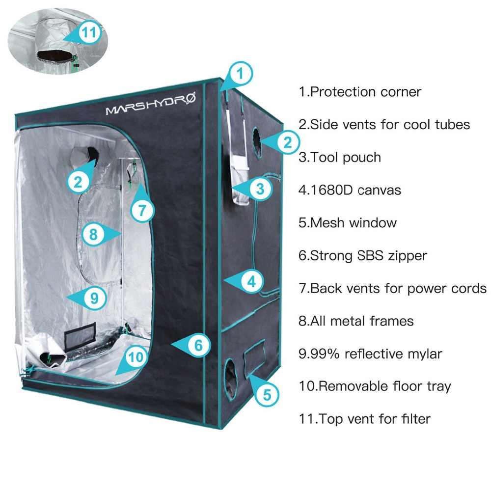 1680D Marshydro LED crescere tenda 150*150*200 centimetri per la Coltura Idroponica, Box Crescere, HA PORTATO Crescere Sistema