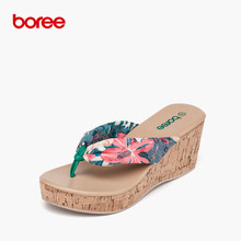 Boree Summer New Women's Sandals Fashion Flip Flops Casual Shoes Classics Printing  Non-Slip Thick Soled Beach Slippers SDL0028
