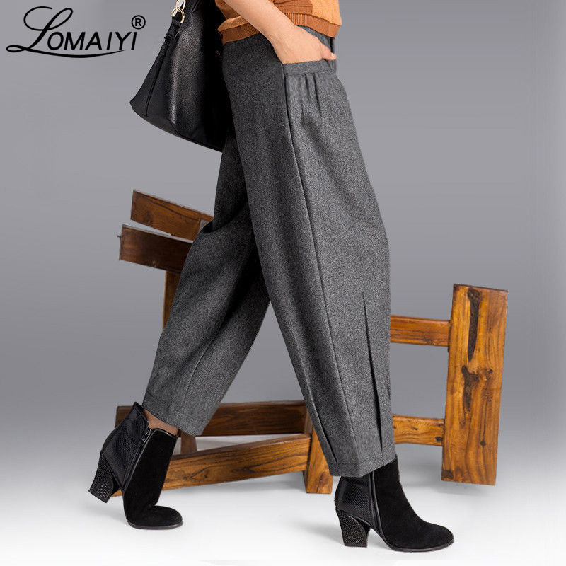 LOMAIYI Warm Autumn/Winter Wide Leg Pants For Women Loose Harem Pants Women's Office Trousers Woman High Waist Pants Lady BW023