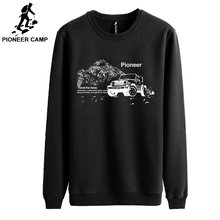 Pioneer Camp autumn Winter men hoodies casual cotton thicken fleece male pullover tracksuit mens crewneck Funny Print sweatshirt(China)