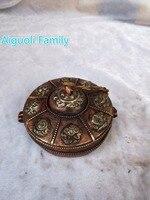 Диаметр 9 см! непал/Азиатский Античная Тибет старый ручной работы 1 пара Медь колокол с коробкой статуя из традиционной тибетской ремесла 01