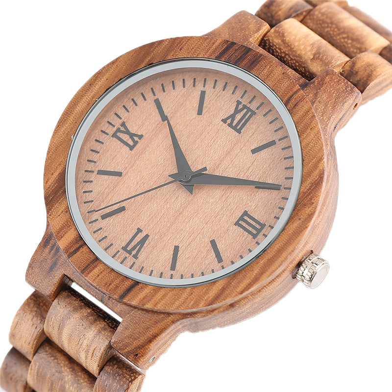 Retro Quartz Watch Men Roman Numeral Wooden Bracelet Bamboo Band Chain 100% Handmade Wood Man's Watches relogio masculino Gifts 2017 retro freemason pocket watch sets with free masonic necklace pendant quartz fob watches chain best gifts set for men women