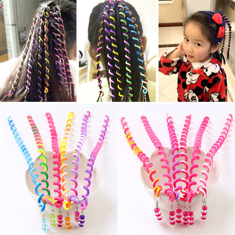 MIXIU 6pcs Girl Elastic Headband Spiral Spin Screw Hairpin Curler Hair Braid Sticker Twisted Styling Tool For Kids Girl Woman