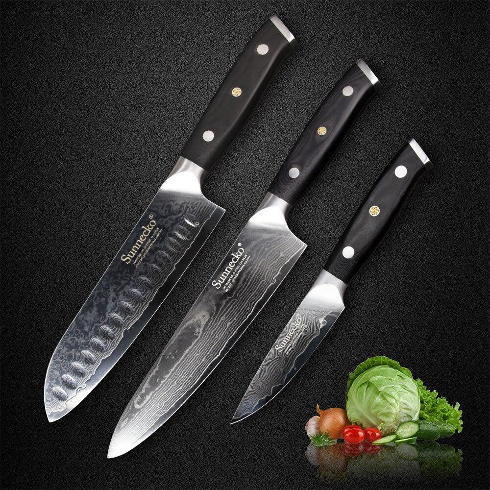 SUNNECKO 7 Santoku 8 Chef 3.5 Couteau Damas Couteaux de Cuisine Ensemble Japonais VG10 Acier Ponçage G10 poignée Couteau à Viande
