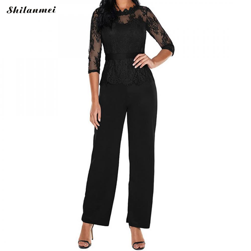 Sexy Camisole Jumpsuit Lace See Through Romper Long Bodysuit Office Lady Playsuit 2018 Summer Bodycon Slim Overalls