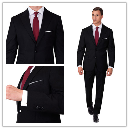 New arriving Black Herringbone custom made slim fit mens 2 piece ...