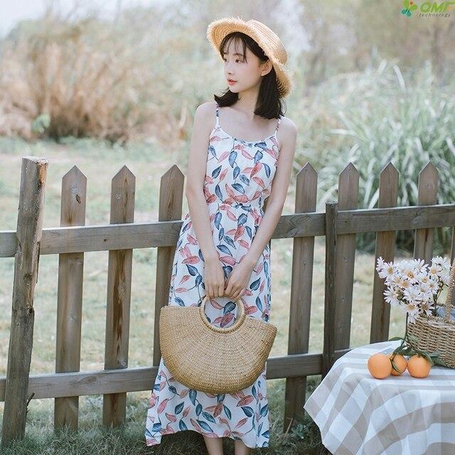 79dc4e11b4a 2018 Floral Chiffon Strap Dress Women Boho Style Long Dress Sweet Fresh Maxi  Dresses Casual Vintage Vestidos Elegant Summer