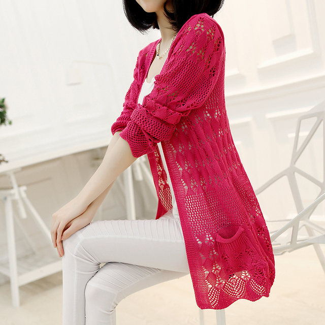 Knitted Cardigan Loose Pocket Hollow Long Sleeve Women Sweater 5
