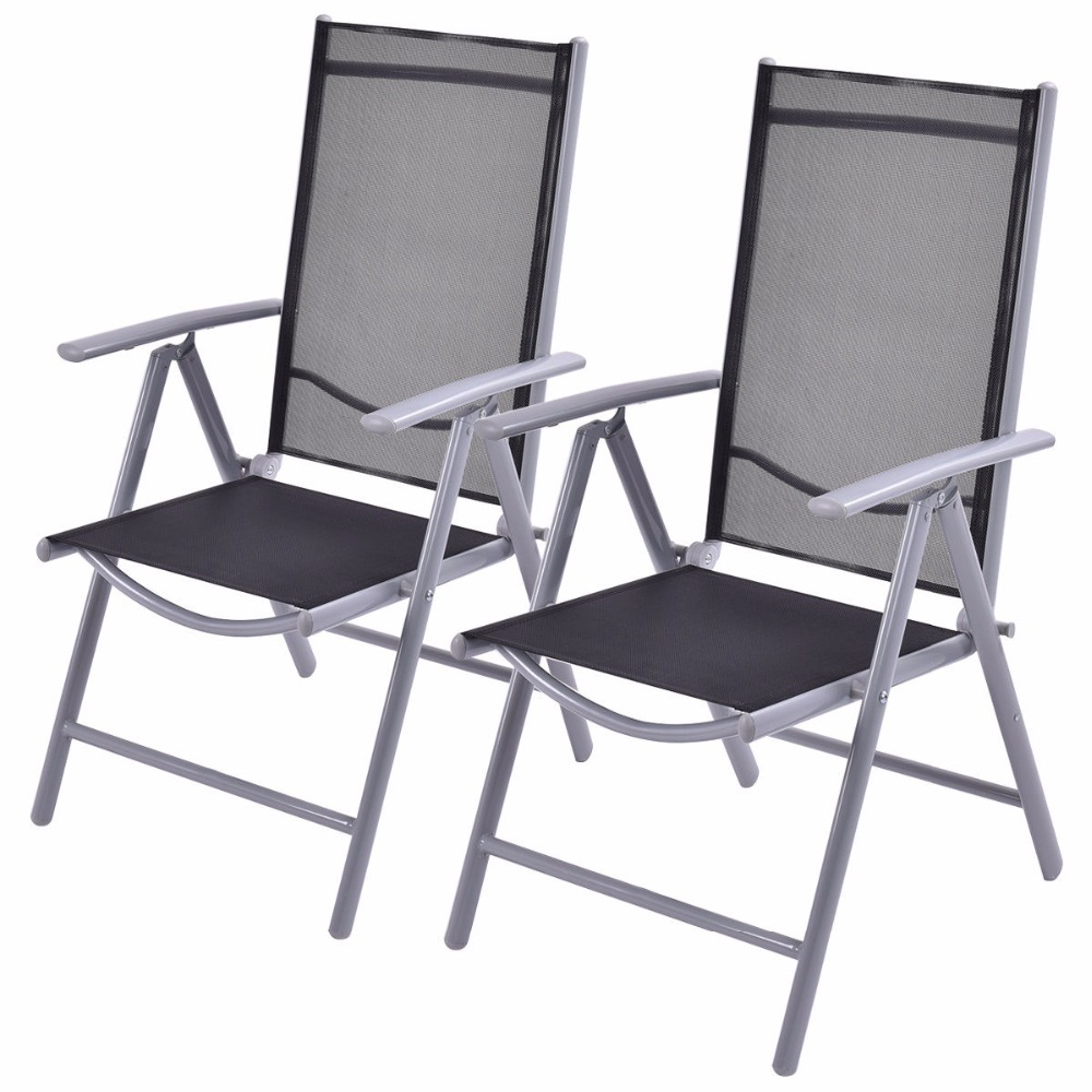 Goplus Set of 2 Patio Folding Beach Chair Adjustable Reclining Indoor Outdoor Garden Aluminum Portable Fishing Chairs HW52027 ...